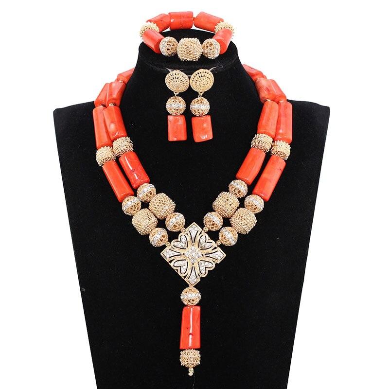 Africain nigérian mariage corail collier ensemble 2017 mode réel corail bijoux ensemble pour femmes or perles de mariée bijoux ABH679