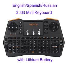 Mini Handheld font b Keyboard b font 2 4G Wireless English Spanish Russian Touchpad Mouse Gaming