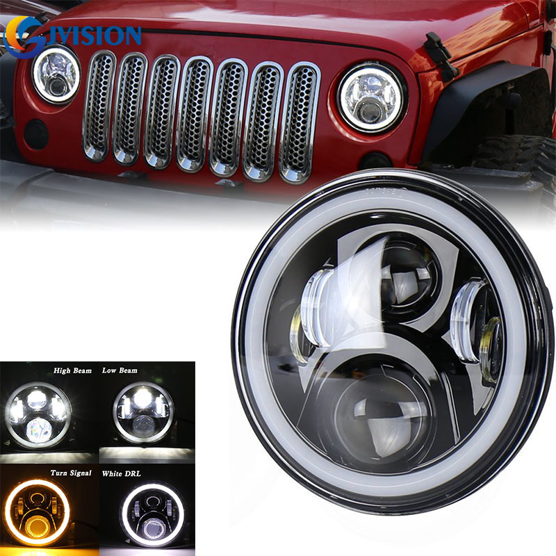 OffRoad 4x4 7 inch Round projector Daymaker led headlight Halo Ring angel eyes for Jeep Wrangler JK TJ Lada Niva 7'' headlamp 40w headlamp 7 inch led halo ring daymaker headlight rear tail lights with 4 fog light for jeep wrangler jk l21