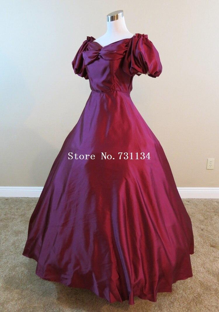 Belle Reconstitution Qualité Victorienne Théâtrale Southern Rouge Princesse Haute De Noël Robes Costumes Bal j5AR43qL