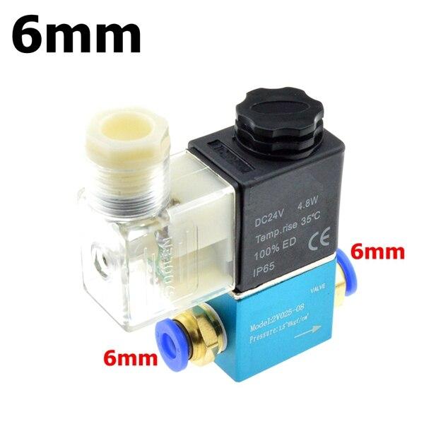 12 В 24 В 220 В вольт пневматический Электрический электромагнитный клапан 2 положения 2 порта нормально закрытый воздушный магнитный клапан 6 мм 8 мм соединение шланга - Цвет: 6mm