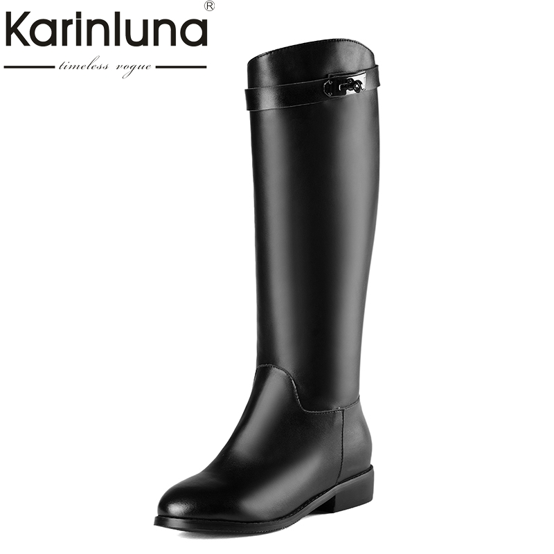 KarinLuna 2018 size 34-40 square heels genuine leather brand shoes women boots slip on black cow leather knee high boots karinluna 2018 top quality size 33 41 brand shoes women knee high boots genuine leather square heels riding boots woman shoes