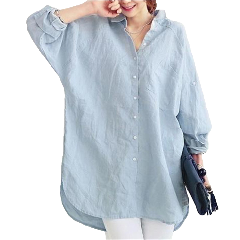 Womens Loose Blouse Shirts Blusas Holidays Spring Summer Long Turning Sleeve Tops And Blouses Casual Linen Blue Beach Women