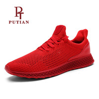 PU TIAN Men Spring Summer Breathable Air Mesh Running Shoes Outdoor Walking Male Shoes Comfortable Sports