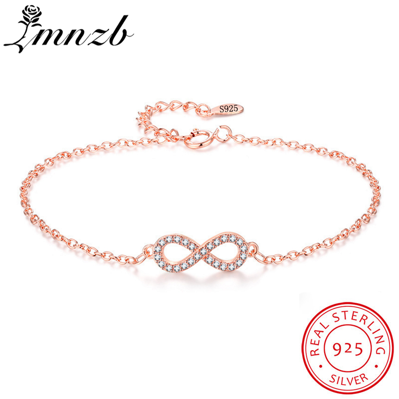 LMNZB Infinity 8 Shape Charm Bracelets Original 925 Silver Rose Gold Zircon CZ Wedding Jewelry Bracelet Bangles for Women HB003 tongzhe endless mens bracelets 2018 sterling silver 925 cz rose gold charm infinity tennis bracelets for women jewelry pulsera
