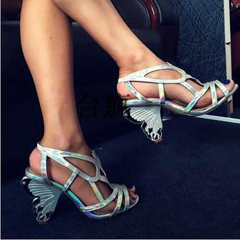 Sexy Lace Up Summer Gladiator Sandals Women Butterfly High Heels Wedding Shoes Woman Big Size Fashion Peep Toe Women Pumps Botas