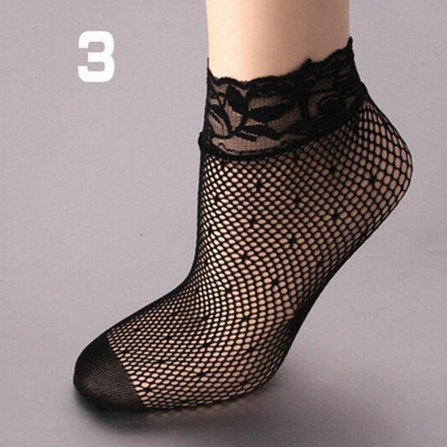 women summer sexy mesh silk socks for female ultrathin transparent nylon short socks with lace high elasticity
