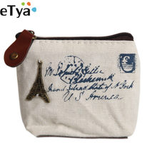 eTya Canvas Classic Retro Ladies Women Small Coin Purse Key Card Pouch Money Bag Girl Mini Short Coin Holder Wallet(China)