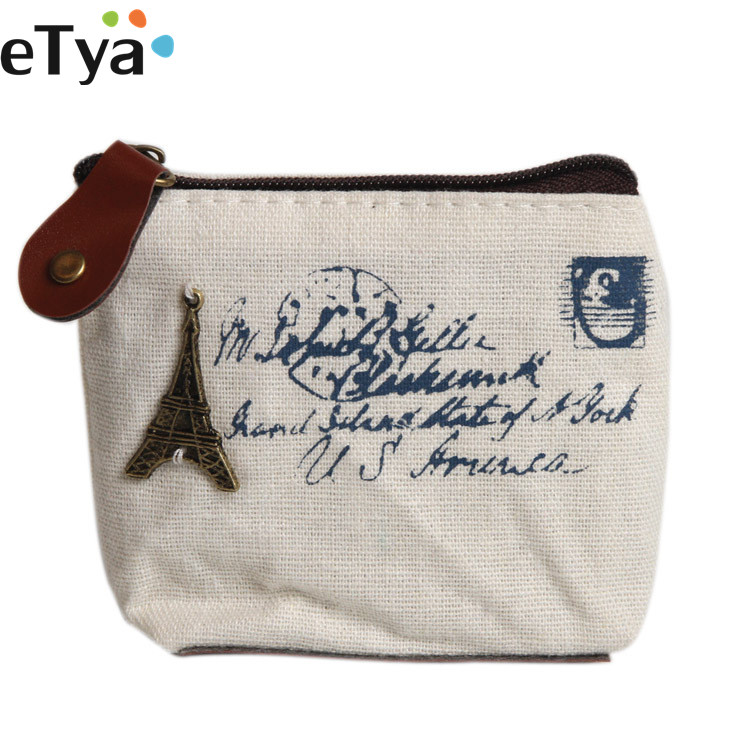 eTya Canvas Classic Retro Ladies Women Small Coin Purse Key Card Pouch Money Bag Girl Mini Short Coin Holder Wallet new fashion style women coin bag creative canvas money purse small mini porte monnaie key holder card wallet maison fabre