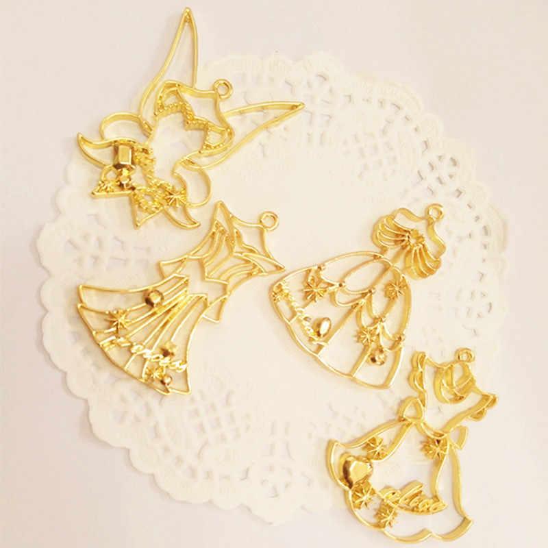 12 cái công chúa Mở Bezel Kim Loại Khung Pendant Vàng Charm Bezel Thiết Cabochon Thiết UV Resin Charm