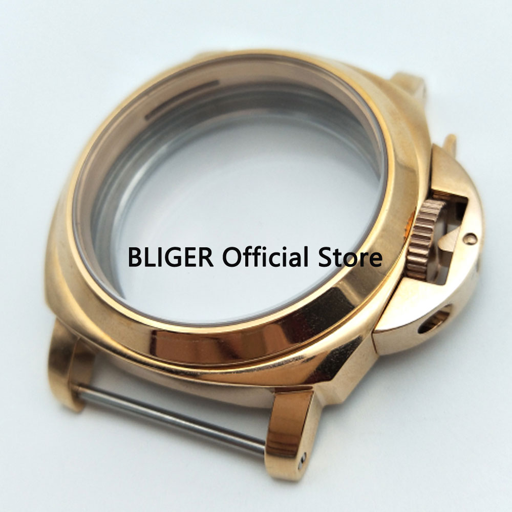 BLIGER Brushed Gold 44MM 316L Stainless Steel Watch Case Suitable For ETA 6497 6498 Hand Winding MovementBLIGER Brushed Gold 44MM 316L Stainless Steel Watch Case Suitable For ETA 6497 6498 Hand Winding Movement