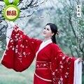 2014 новинка традиционный красный Hanfu с вышивкой розовый цветок сливы Hanfu женского костюма платье