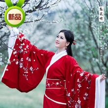 2014 New Design Traditional Red Hanfu with Embroidery Pink Plum Blossom Hanfu Costume Women's Dress