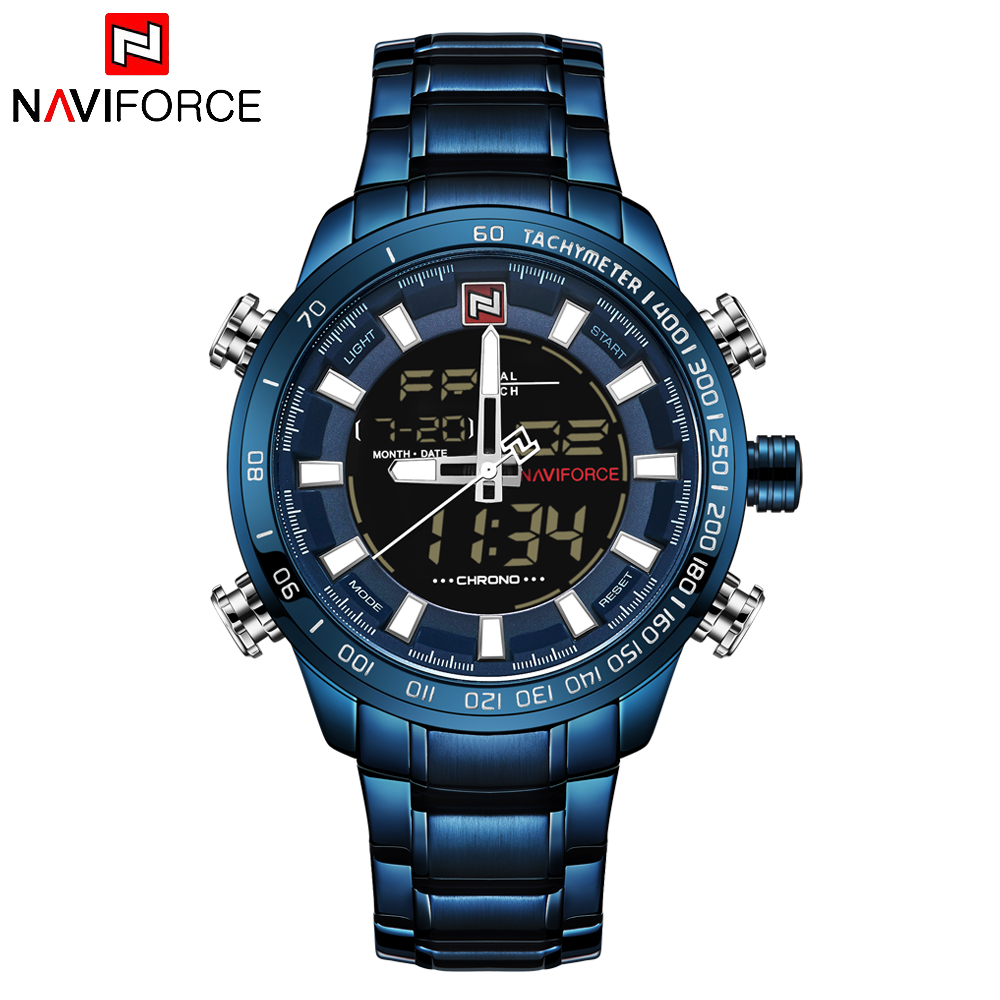 NAVIFORCE Mens Quartz Analog Watch Luxury Fashion LED Sport Wristwatch Waterproof Stainless Male Watches Clock Relogio Masculino 15