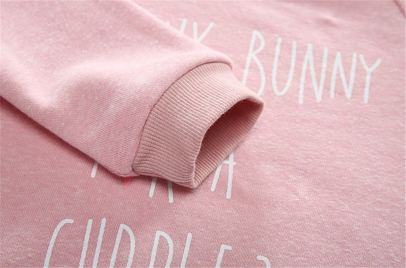 Jiuhehall 24M - 7T Children O-Neck Hoodies Letter Print Pullover With A Small Rabbit Doll For Girls Long Sleeve Kids Tops CMB974 (2)