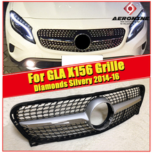 Diamonds Style grille grill X156 GLA45 look ABS Silver For GLA Class GLA180 GLA200 CLA250 Front Bumper grills without Sign 14-16