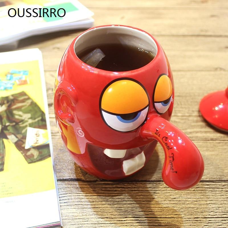 OUSSIRRO Creative Kilo Coloured Drawing Ceramic Mug Mass Capacity With Lid Milk Coffee Tea Cup Couples Lover Nice Gift Drinkware