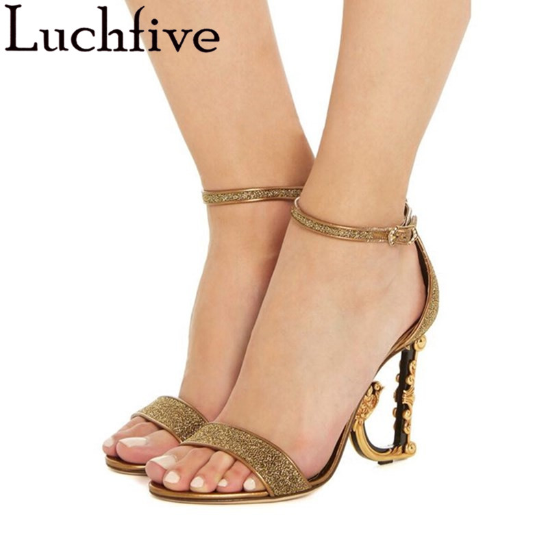 Luchfive Bling Sequined One Strap Sandals Women Fashion Ankle Strap Special Letters High Heels Summer Runway