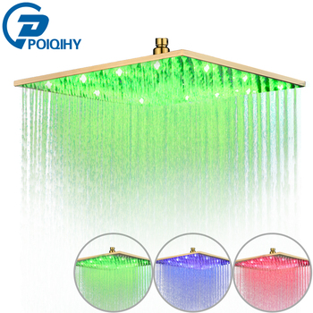 Square Bathroom Rainfall Shower Head Gold Plated Top Over Sprayer 8/10/12/16 Inch LED Bath Shower