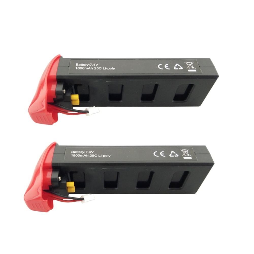 2PCS 7.4V 1800mAh lithium battery for MJX B2C B2W B2 Bugs 2w Bugs 2 D80 F18 RC quadcopter spare parts red battery 2pcs 7 4v 1800mah model battery with 2 in 1 euro charger for mjx b3 bugs 3 four axis aircraft spare parts uav lithium battery