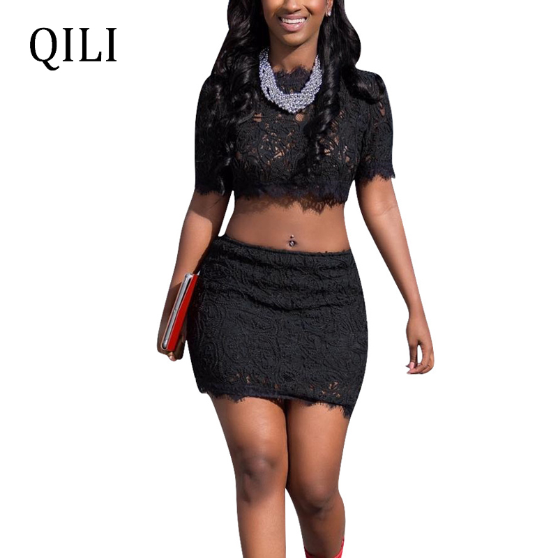 QILI Black Floral Lace Dress Short Sleeve Stand Neck Zipper Two Piece Set Dresses Party Club Midi Plus Size