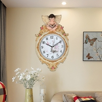 head Arts Crafts The living room wall decoration art creative American Nordic wall clock clock quartz watches are quiet bedroom