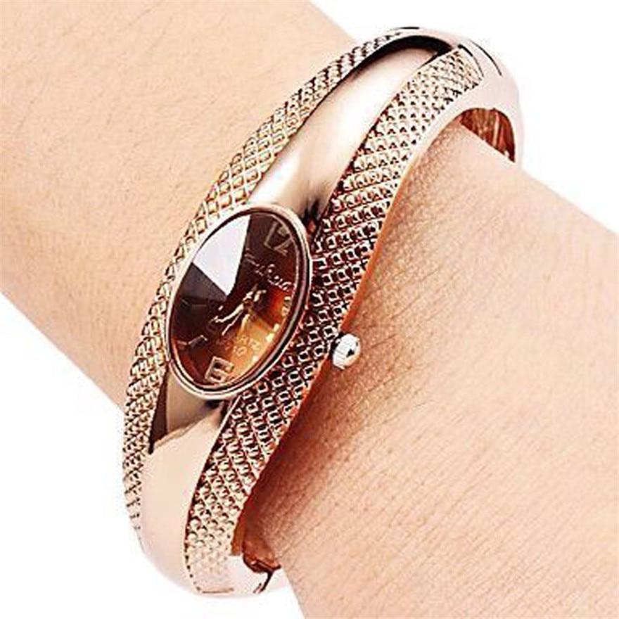 Fashion Golden Oval Quartz Watch Women Alloy Cuff Ban &
