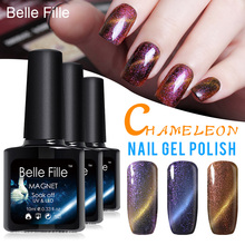 Full Set 10ml UV/LED Chameleon Cat Eye Magnetic Nail Gel Polish+black coat+magnet DIY Nail Art Long lasting Gel Nail
