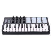 SEWS-WORLDE Panda MIDI Keyboard 25 Keys Mini Piano USB Keyboard and Drum Pad MIDI Controller