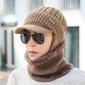 Мужской шерстяной вельветовый шарф BINGYUANHAOXUAN  зимний толстый винтажный теплый шарф с ушками и шеей  набор шапочек-бини