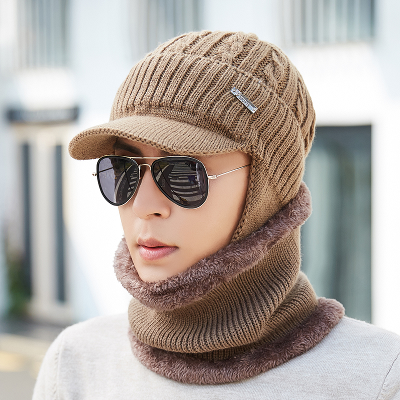 BINGYUANHAOXUAN Mens Wool Velvet Knitted Hat Scarf Winter Thick Vintage Vogue Ear Neck Warm Scarf Beanie Set
