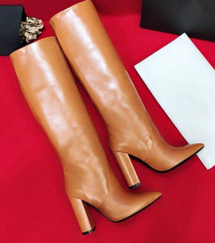 Шикарные женские сапоги из коровьей кожи с острым носком; коллекция года; сезон осень-зима; высокие сапоги из натуральной кожи на высоком каблуке; модные сапоги до колена; EU35-40; BY582 - Цвет: As picture