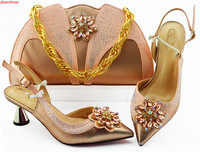 doershow peach Shoes with Matching Bags for Wedding ladyShoe and Bag to Match for party Nigerian Shoes and Bag Set!SLN1 33