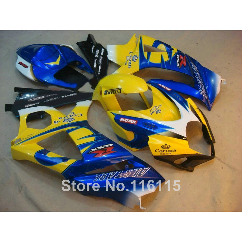 ABS Motorcycle parts for SUZUKI GSXR 1000 K7 K8 07 08 fairing kit GSXR1000 2007 2008 yellow blue Corona fairings set JS96 abs cradle head accessory parts set for fpv yellow