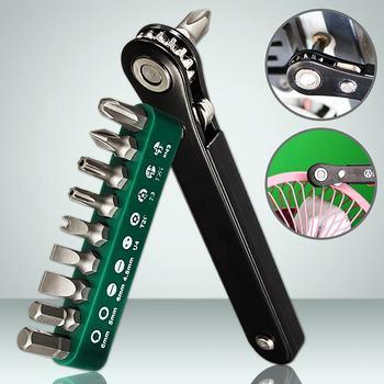Zwart Precisie Mini Ratchet Driver 9 Bits Tool Set Schroevendraaier Voor Philips Flathead Torx Micro Multifunctionele Wrench Gereedschap Sets