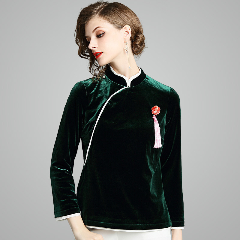 Velvet Qipao Tops Shanghai Coat China Autumn Dignified Chinese Tang Velvet Cheongsam Oriental Tops Chinese Style Clothing XXL