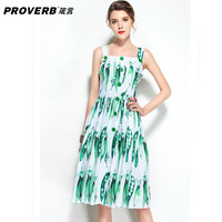 PROVERB Boho Runway Fashion Designer Dress Women Pretty Print Single-breasted Straped Dress European Slim Knee Length Peas Dress