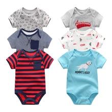 2019 6 pçs/lote unissex bebê recém nascido roupas do menino algodão unicórnio 0 12 m roupas da menina do bebê bodysuit verão dos desenhos animados imprimir