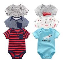 2019 6 unids/lote Unisex bebé recién nacido ropa de algodón unicornio 0 12 M bebé chica ropa de mono de dibujos animados de verano impresión de ropa de bebe
