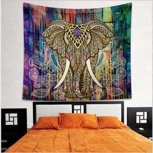 Image 3 - Lotus Mnadala Elefanten Wandteppich Hängen Dekor Indian Home Hippie Bohemian Wandteppich für Schlafsäle Polyester Stoff Wandkunst