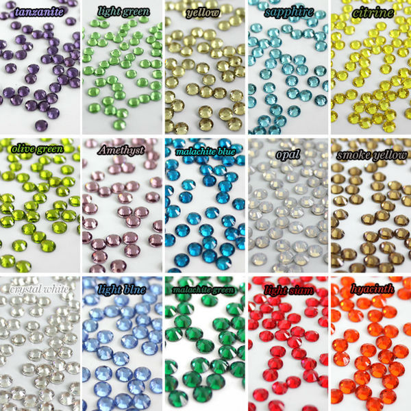 SS6 1.9-2mm 1440 pcs /pack crystal many colors 3d Nail s