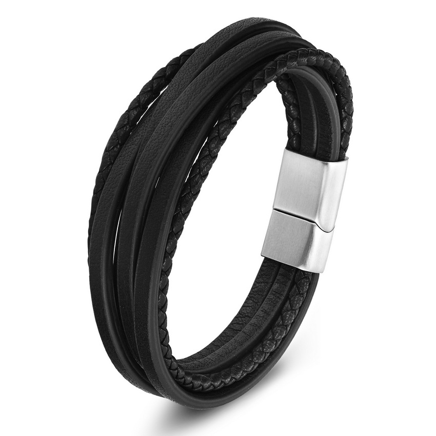 TYO Multi-Layer Stainless Steel Buckle Black/Brown Color Genuine Leather Bracelet For Men Women Classic Design For Surprise Gift