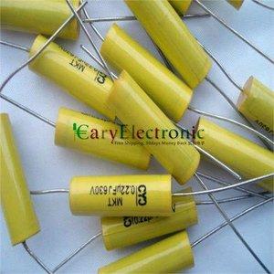 Image 1 - Bán buôn và bán lẻ dẫn dài màu vàng Axial Polyester Film Tụ điện tử 0.22 uF 630 V âm thanh ống fr amp miễn phí vận chuyển