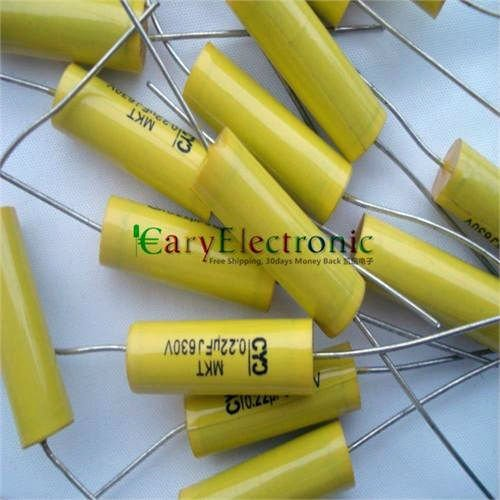 Wholesale and retail long leads yellow Axial Polyester Film Capacitors electronics 0.22uF 630V fr tube amp audio free shipping