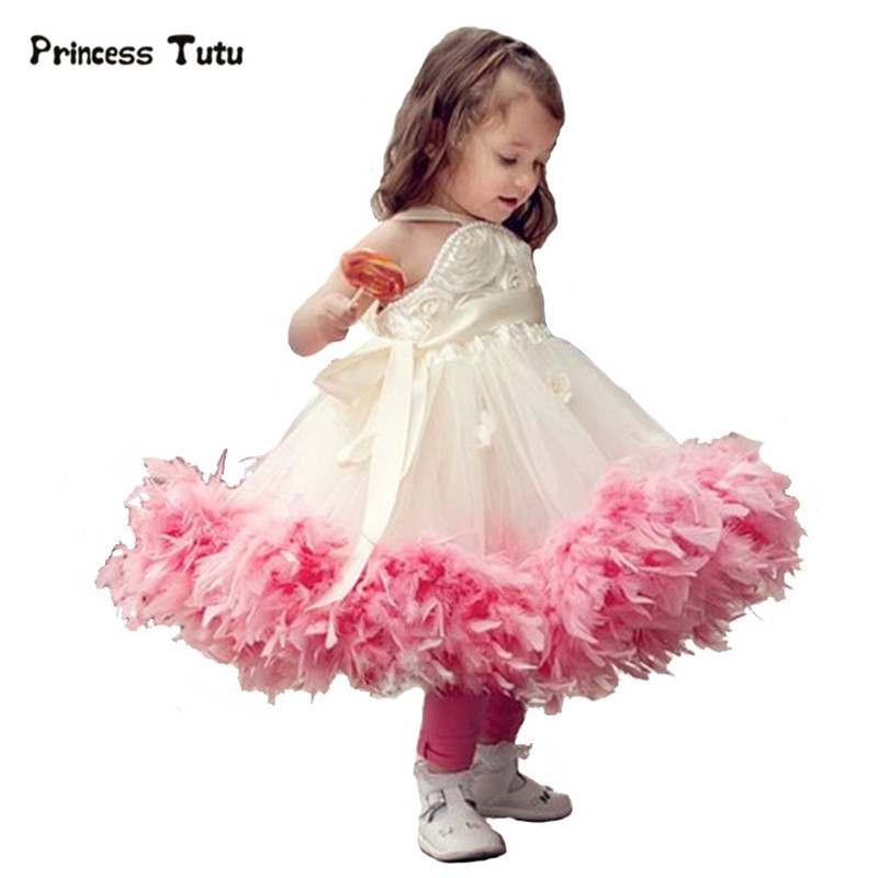 Custom Flower Feathers Girl Dress Ball Gown Wedding Pageant Dresses Kids Birthday Princess Girl Party Tutu Dress Tulle Costume