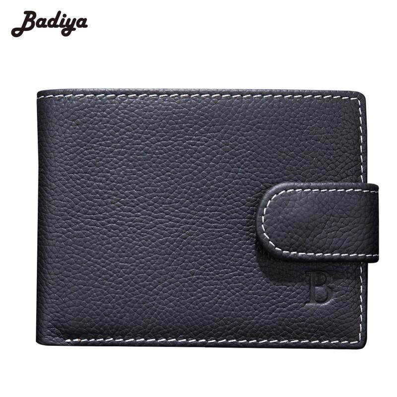 Genuine Leather Bifold Short Wallet Men Dollar Price Horizontal Lichee Pattern Coins Purses Hasp Money Bag Walet Male Carteira