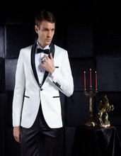 цена на Groomsmen Shawl Lapel Groom Tuxedos One Button Men Suits Wedding/Prom/Dinner Best Man Blazer ( Jacket+Pants+Tie )costume homme