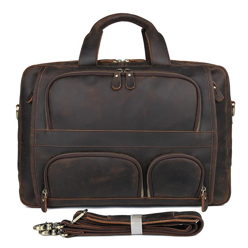 HTB1uCu6QNnaK1RjSZFtq6zC2VXaq MAHEU Vintage Leather Mens Briefcase With Pockets Cowhide Bag On Business Suitcase Crazy Horse Leather Laptop Bags 2019 Design