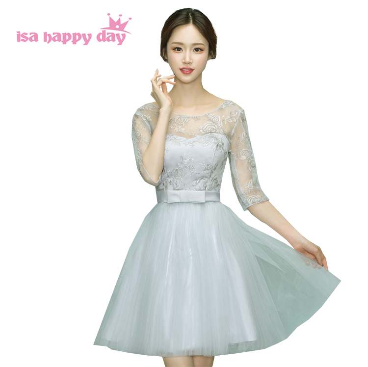 Gray Pretty Short Brides Maid Formal Corset Sleeved Tulle Bridesmaid Dress Party Dresses Cheap Ball Gowns Under 50 W4048