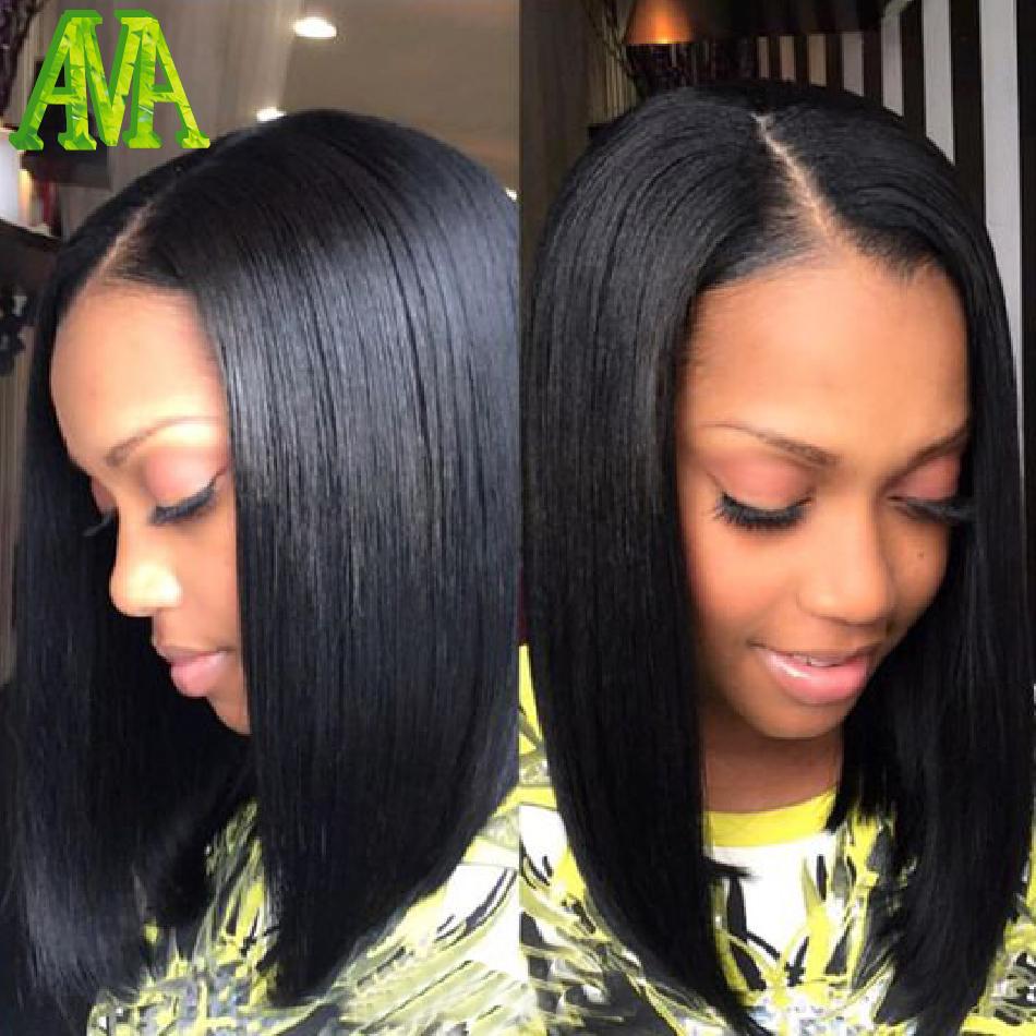 Terrific Aliexpress Com Buy Short Human Hair Bob Wigs Silky Straight Hairstyles For Women Draintrainus